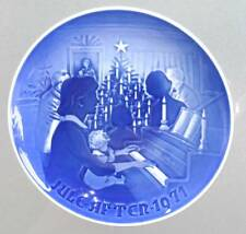 """1971 B&G Plate """"Christmas at Home"""" Bing & Grondahl Jule Aften Piano Tree sing A"""