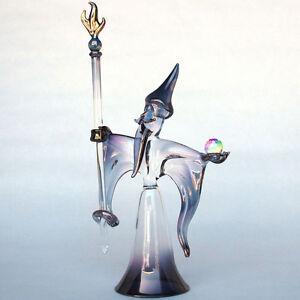 Wizard Sorcerer Figurine Hand Blown Glass Crystal Ball
