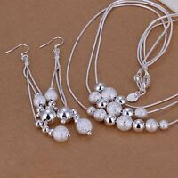 Earring Necklace set Fashion nice cute wedding Silver Plated Pretty women  S122