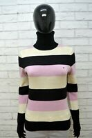 TOMMY HILFIGER Maglione S Lana D'agnello Cardigan Donna Pullover Sweater Righe