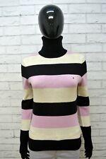 TOMMY HILFIGER Maglione S Lana D'agnello Cardigan Donna Pullover Sweater Righe