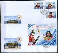 2014 Belarus. Medal winners of the XXII Olympic Winter Games in Sochi. FDCs