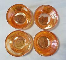"Vintage Carnival Glass Bowl Bowls Set of 4 Coral Iridescent 5"" Home Decor Gift"