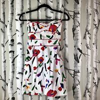 Lucy Love Dress Small Strapless White Multicolor Mini Pockets Abstract Print S