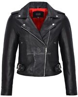 Ladies Leather Biker Jacket BLACK BRANDO Classic Style Jacket Short Length MB130