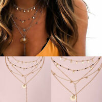 Multilayer Boho Women Geometric Pendant Necklace Clavicle Choker Chain Jewelry
