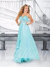 Tiffany 16012 Mint Aqua Chiffon Pageant Prom Gown Dress sz 10