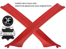 RED REAL LEATHER 2X A PILLAR COVERS FOR BMW 3 SERIES E46 COUPE 98-05 STYLE 2
