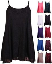 NEW Womens Plus Size Floral Lace Sleeveless Swing Camisole Strapy Top Vest 12-30