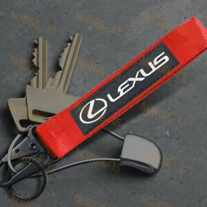 For LEXUS RED Racing Keychain Metal Backpack key Ring Hook Strap Lanyard Nylon
