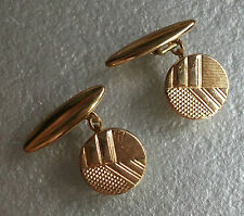 NEW CUFFLINKS VINTAGE GOLDTONE GILT 1930'S 1940'S 1950'S ART DECO ABSTRACT ROUND