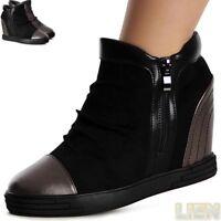 Damenschuhe Velours Stiefeletten Keilabsatz Boots Booties Hidden Wedges Trendy