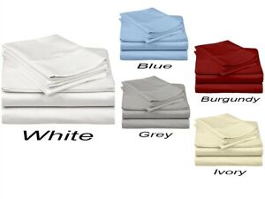 """Home Collection Percale Cotton Bedding Sheet Set  400TC Extra Size 15"""" Drop"""