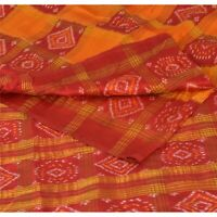 Sanskriti Vintage Saree Woven Patola 5 Yd Sari Fabric 100% Pure Silk Soft Orange