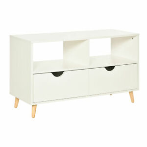 Modern TV Stand Compact Wooden Sideboard Storage Organiser Drawers Shelves White