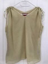 100% Pure Silk Ladies Olive Yellow V-Neck Lined Top/ Blouse L/ UK 8-10 New