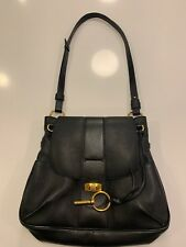 Chloe Medium Lexa Black Leather Crossbody Shoulder Bag Handbag