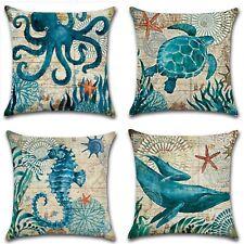 Beach Theme Cushion Covers Sea Theme Square Decorative Throw Pillow Cover 4-pcs