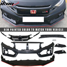 Fits 16-17 Honda Civic Type-R Painted Front Bumper & Lip Gloss Black /Red Stripe