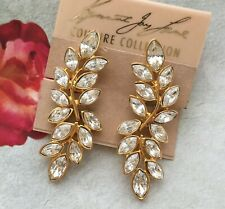 KJL KENNETH JAY LANE VTG Earrings Crystal Couture sparkly clip on Marquise Long