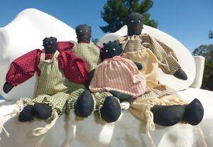 4 Vintage Black Americana Handmade Cloth Rag Doll Family Mom Dad Son Baby Girl