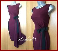 Karen Millen UK8 Maroon Black Jersey Bow Drape Shift Pencil Cocktail Race Dress