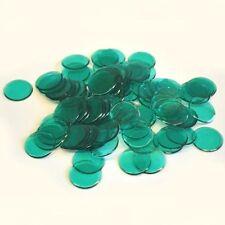 "100 GREEN CLEAR PLASTIC BINGO CHIPS - 7/8"" IN DIAMETER"