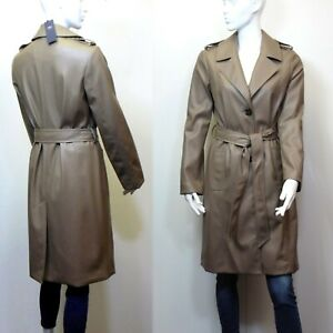 M&S Faux LEATHER Belted TRENCH COAT ~ Size 10 ~ MOCHA (rrp £79)