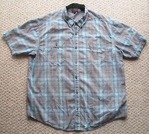 Mens Wolverine Brand Short Sleeve Plaid Shirt 2 Front Pockets Cotton Blend XXL