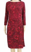 Lauren by Ralph Lauren Womens Dress Red Size 0 Sheath Paisley Stretch $109 086