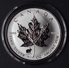 1999 Canada 1 oz. Silver Maple Leaf Rabbit Privy Mark! W/Cap&Box (25,000 minted)
