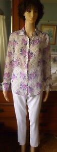 Tokito pink floral blouse size 8 long sleeve
