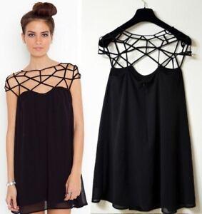 Abito blusa corto mini RAGNATELA vestito nero rete S/M top blusa online elegante