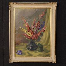 Tableau peinture huile sur toile nature morte cadre signé italien style ancien