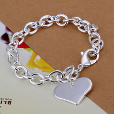 925 Stamped Sterling Silver Filled SF Heart Pendant Charm Bracelet BL-A252