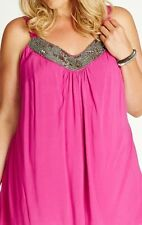 Plus Size Ladies Cami Sleeveless Bling Neckline Adjustable Straps Top Size 18-20