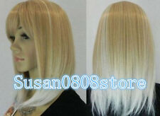 NEW beautiful Short blonde mix white color hair wigs for women +free wig cap