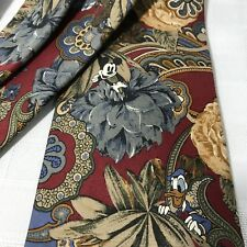 Disney Store Silk Neck Tie Mickey Donald Goofy Floral Blue Gray Burgundy USA