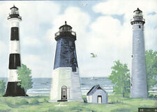"LIGHTHOUSES & SAIL BOATS OCEAN SIDE BLUE EDGES 9"" wallpaper border 5 yards decor"