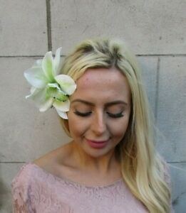 Large Triple Light Pastel Green Floral Orchid Flower Hair Clip Fascinator 7721