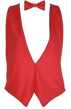 L/XL Backless Bright Coloured Waistcoat Dicky Bow Tie Fancy Dress Unisex UK Made