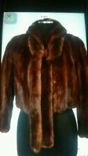 Vintage Genuine Brown Split Mink Fur Shawl Collar Jacket Coat + Self Belt/Scarf