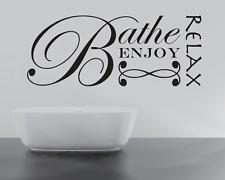 RELAX BATHE ENJOY UNWIND Quote Wall Stickers Art BATHROOM Removable Decals DIY