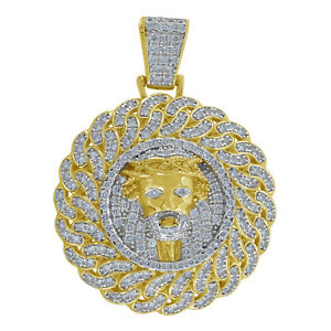 Yellow-tone 925 Sterling Silver Mens Round Cubic Zirconia CZ Jesus Face Cluster
