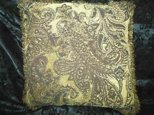 """3 pc Designer Tuscan Gold, Brown, Black Chenille 22"""" Fringed Pillows and Throw"""