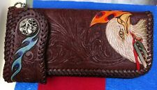 Bifold Western Leather Wallet Sculpted American Eagle Free Wallet Snap Connector