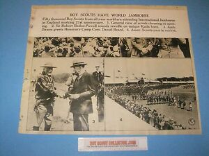 Boy Scout Vintage World Jamboree in England Baden Powell, Dan Beard 14x17