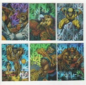 Wolverine~ From Then Till Now2 - 6 Card Prism Set 1992 plus Silver Surfer Promo