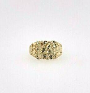 10K Yellow Gold Nugget Pinky Ring Mens Womens Small Medium Large XLarge