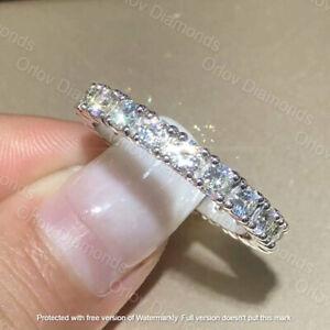 1Ct Brilliant Cut VVS1/D Diamond Wedding Band Ring Solid 14K White Gold Finish